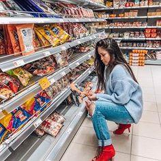 Dilemmas during grocery shopping  #redshoes #boyfriendjeans #blue #sweater #fashion2018