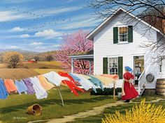 On The Wind - John Sloane Gallery - This Old Farmhouse. Arte Country, Country Life, Country Living, Amish Country, Country Kitchen, Foto Gif, Down On The Farm, Beautiful Paintings, Farm Life