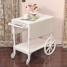 Shabby Cottage Chic Cute Shabby White Tea Cart French Vintage Style Roses   eBay Shabby Chic Cottage, Shabby Chic Style, French Vintage, Vintage Style, Vintage Tea, Vintage Girls Rooms, Kitchen Table Chairs, Tea Cart, Dream Decor