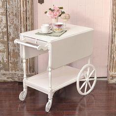 Shabby Cottage Chic Cute Shabby White Tea Cart French Vintage Style Roses | eBay