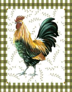 Country Rooster print rooster art rooster by HamiltonArtandDesign