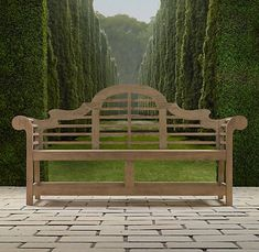 """Inspired by 19th-century English architect Sir Edwin Lutyens' traditional bench...updated in sustainably harvested premium teak."" Wow!"