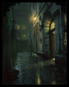 Victorian Gaol by Andy Walsh, via Behance Fantasy City, Fantasy Places, Dark Fantasy Art, Fantasy World, Dark Art, Lightroom, Photoshop Actions, Arte Peculiar, Victorian London