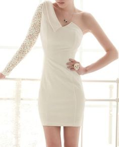 White Lace One Shoulder Asymmetrical Dress