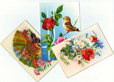 3 Vintage Flowers Postcard from SPAIN  by BlueGrizzlePapers, $5.00