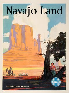 SANTA FE RAILROAD - NAVAJO LAND ORIGINAL VINTAGE POSTER by ELMS