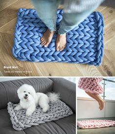 Ohhio Braid - Unique Chunky Creations New line of Ohhio products. Throws, pet beds, mats and DIY kits. Giant Knitting Yarn, Arm Knitting, Vogue Knitting, Chunky Knit Throw Blanket, Hand Knit Blanket, Tapetes Diy, Diy Tapis, Arm Crocheting, Knit Rug