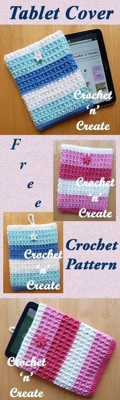 Easy to crochet tablet cover, a free pattern that is a great project for a beginner crocheter, due to the larger hook size, it grows really quickly