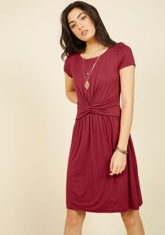 A Whole New Whorl Jersey Dress in Cranberry | Mod Retro Vintage Dresses | ModCloth.com