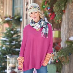 """COLLECTIBLE SLOUCH PULLOVER--Luxuriously oversized in pure cashmere with a substantial hand, smooth jersey knit body and ribknit sleeves. Hand wash. Imported. Exclusive. Sizes XS (2), S (4 to 6), M (8 to 10), L (12 to 14), XL (16). Approx. 28""""L."""