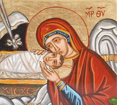 One of my very favorite icons of Nativity- Holy Mother and Christ in the manger, in a small wooden panel covered with copper gold. An original hand painted icon by angelicon