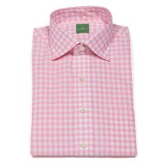 Sid Mashburn Spread Collar Dress shirt in Pink Gingham Broadcloth...