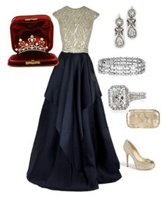 """#blueandgoldpromspirit Dark Navy &silver/gold bodice. Diamond accessories &gold&silver Diamond & Pearl Tiara. For state dinner ."""" by hshprincessgebevieve ❤ liked on Polyvore featuring Naeem Khan, Jimmy Choo, Alexander McQueen and Blue Nile"""