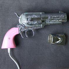 Having a bad hair day. Vintage pink gun hairdryer.. $345.00, via Etsy.      not a gun but SOOOO cool