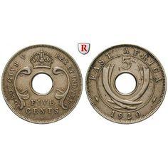 Ostafrika, George V., 5 Cent 1920, ss-vz: George V. 1910-1936. Kupfer-Nickel-5 Cent 1920 H. KM 13; sehr schön - vorzüglich 70,00€ #coins