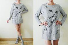 VTG oversize grey long t shirt or mini dresscotton by memovintage, $37.00