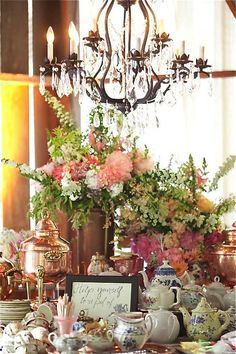 lovely feminine floral mixed-pattern tea party.