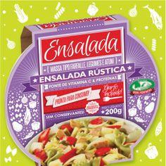 Ensalada Rústica: massa tipo Farfalle, atum e legumes (pimentão vermelho grelhado, cebola, batata e azeitona verde fatiada).
