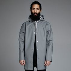 Stockholm Grå - Grey Raincoat – Stutterheim Raincoats hair beard tumblr