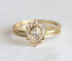 Oval Diamond Crown Ring with Lace Wedding Band V by MinimalVS