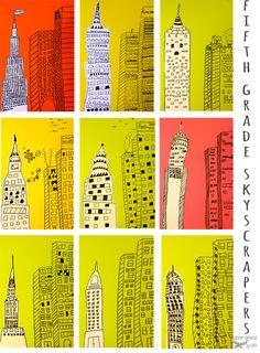 Skyscraper-Art-project--emphasis, line, shape, contrast...
