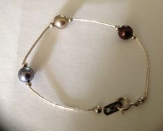 Vintage Sterling Silver Triple Peacock Pearl Bracelet by VintageVelvetBox on Etsy