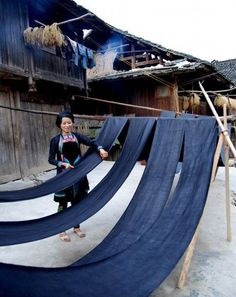 Indigo batik by the Miao ethnic people in Guizhou province, in the south-west of China. This village level production uses a dye resist method achieving stunning patterns and tones. Bleu Indigo, Mood Indigo, Indigo Colour, Indigo Dye, Color Azul, Costume Ethnique, Wabi Sabi, Japanese Textiles, All Nature