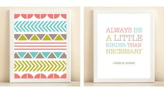 """Pink, Turquoise, and Lime """"Pattern"""" & """"Be a Little Kinder"""" poster. $30.00, via Etsy."""