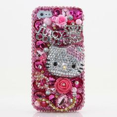 Bling iphone 5 Case Cover protective faceplate skin 3D Swarovski Elements Crystals Diamond Sparkle Juicy Hello Kitty Design (Handmade by Bxbe Studio)