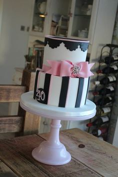 black and pink birthday cake