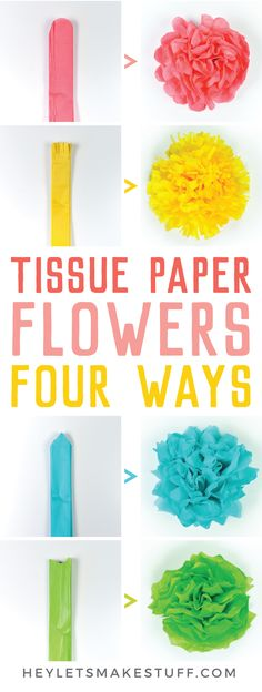 Tissue paper flowers make a gorgeous event decor with a big impact—think weddings, baby showers, bridal showers and more! Learn how to make easy tissue paper flowers, as well as different methods for cutting the petals to create four unique styles. Tissue Paper Flowers Easy, Paper Flowers For Kids, Paper Flowers Wedding, Paper Flower Tutorial, Giant Paper Flowers, Diy Flowers, Tissue Paper Decorations, Flowers From Tissue Paper, Paper Flower Making
