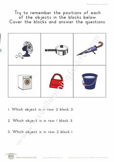 """In the """"Object Block Positions (6 Blocks)"""" worksheets, the student must remember the positions of each of the pictures in the blocks, in order to answer the questions when the pictures are no longer visible. Learning For Life, Visual Learning, Visual Memory, Worksheets, Positivity, Student, Memories, This Or That Questions, Math"""