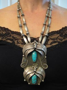 "5.3 oz. Huge Signed Old Pawn Navajo or Hopi Turquoise Double Strand Old Melon Beads Necklace 4.25""L x 2 5/8""  $2025"