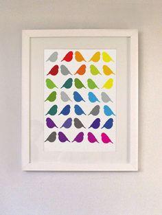 Rainbow Birds Nursery Print By AlphaBino modern nursery decor