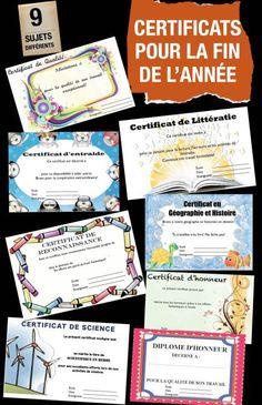 Certificats pour féliciter les élèves pour leur bon travail: Français, Géographie, Science, Entraide, Effort soutenu, etc