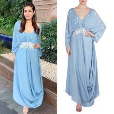 Babita Malkani presents Dusk blue embellished drape maxi dress available only at Pernia's Pop Up Shop. Elegant Dresses For Women, Stylish Dresses, Simple Dresses, Stylish Dress Designs, Designs For Dresses, Indian Evening Gown, Evening Gowns, Kaftan Designs, Drape Maxi Dress
