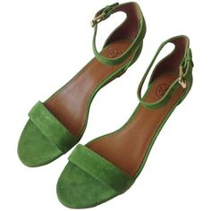 Pre-owned Tory Burch Savannah Suede Sandal (with Dustbag) Leaf Green... ($164) ❤ liked on Polyvore featuring shoes, sandals, leaf green, ankle wrap sandals, tory burch shoes, green sandals, wedge sandals and ankle strap wedge sandals