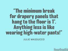 The correct length for drapes. housebeautiful.com. #designer_secrets #drapes #curtains