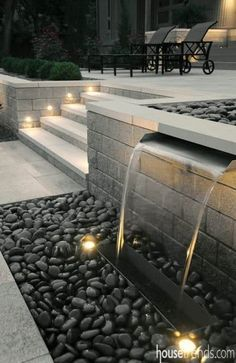 55 Ideas For Garden Design Landscape Water Feature Modern Backyard, Ponds Backyard, Modern Landscaping, Backyard Patio, Backyard Landscaping, Backyard Waterfalls, Landscaping Ideas, Backyard Ideas, Patio Decks