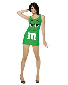 Green M&M Costume Sexy Tank Dress Couples Costume Idea Food Candy -- This food costume is a recipe for winning your Halloween Costume Contest! #food #recipes #halloween #costume