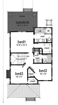 Floor Plans AFLFPW06386 - 2 Story Contemporary Home with 3 Bedrooms, 2 Bathrooms and 1,586 total Square Feet