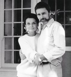 Audrey Hepburn with Robby Wolders at Connie's home in Beverly Hills, 1980s.