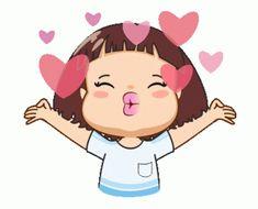 Cute Love Pictures, Cute Cartoon Pictures, Cute Love Cartoons, Animated Emoticons, Funny Emoticons, Love You Gif, Cute Love Gif, Calin Gif, Bisous Gif