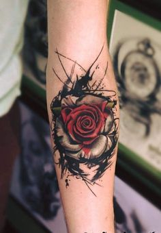 31 of the best black and red tattoos - Page 5 of 6 - 123 tattoos - Tatt . - Amy - 31 of the best black and red tattoos – Page 5 of 6 – 123 tattoos – Tatt … – - Cool Tattoos For Girls, Rose Tattoos For Men, Best Tattoos For Women, Red Tattoos, Body Art Tattoos, Small Tattoos, Sleeve Tattoos, Tattoo Drawings, Rose Drawing Tattoo