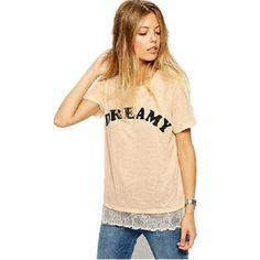 Summer Short Sleeve O Neck Lace Patchwork Tshirt Women Tops DREAMY Loose Fit T-shirts