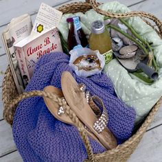 The perfect wicker bag filled with goodies for a picnic