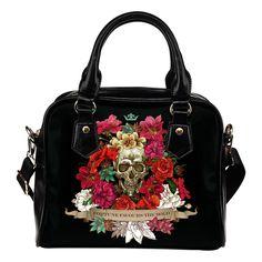 """""""Fortune Favours The Bold"""" Flower Skull Handbag"""