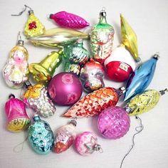 Soviet Christmas Baubles  Glass Ornaments by cherryshop on Etsy