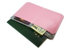 Amazon.com : [JAMCRAFT] Eclair.0 Pink Premium Handmade Passport Case / Wallet made of Top Grain Leather and 100% Wool Felt