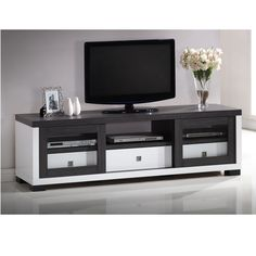 Oxley 70-Inch Modern and Contemporary Two-tone White and Dark Brown TV Cabinet with Two Sliding Door and Three Drawers